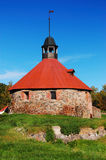 The tower of Korela fortress. Old Korela fortress in the town of Priozersk, Russia stock photos