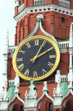 TOWER OF KREMLIN. Clock of tower in Kremlin. Moscow. Russia. Chimes The main clock of the country Royalty Free Stock Image