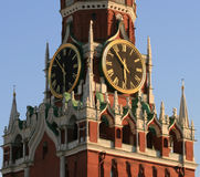 Tower of Kremlin. Clock of tower in Kremlin. Moscow. Russia Stock Images