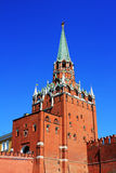 Tower of Kremlin and Red wall. One of towers of the Kremlin complex in Moscow, entrance through the red Kremlin wall on territory of Kremlin Stock Photos