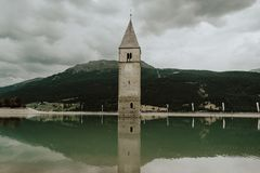 The tower in the lake stock photos
