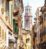 Tower Lamberti in city Verona Royalty Free Stock Photo
