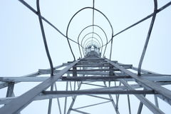 Tower. The tower for light oil and gas wells view from the inside bottom to the top Royalty Free Stock Photo