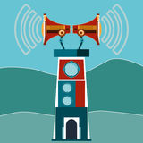 Tower, a lighthouse with two megaphones and sound waves. Media. Dissemination of information, emergency information people royalty free illustration