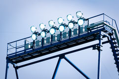 Tower with lighting floodlights Royalty Free Stock Image