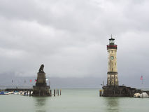Tower and lion in Lindau Royalty Free Stock Image