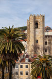 Tower of the Lisbon Cathedral in Portugal Stock Photography