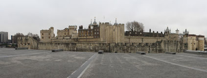 Tower of London. Panoramic view of the Tower of London, United Kingdom, on a cloudy and grey day Stock Photos