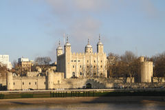 Tower of London. View of the Tower of London from the river thames, United Kingdom, on a cloudy and grey day Royalty Free Stock Photo