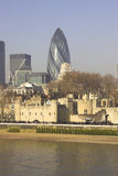 Tower of London. And City of London financial district stock photography