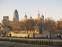 The Tower of London. And the Gherkin Tower stock photo