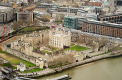 Tower of London Aerial View. View from above of the historic Tower of London castle in the City of London Stock Images