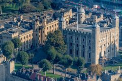 Tower of London aerial view showing the white tower. Tower of London on the banks of the thames aerial view showing the white tower stock photography