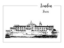 Tower of London, architectural symbol. Beautiful hand drawn vector sketch illustration Royalty Free Stock Photos