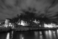 Tower of London in black and white Royalty Free Stock Photos