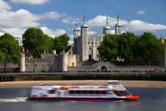 The Tower of London with boat Royalty Free Stock Images