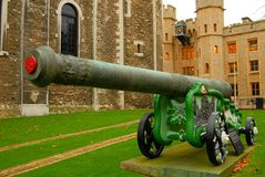 Tower Of London Canon. Close up image of a canon in front of the Tower of London stock image