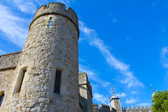 Tower of London detail. Wall and tower Stock Photos