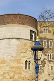 Tower of London detail  with blue lamp Stock Photo