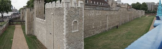 Tower of London in London, England, wide angle view of battlements stock image
