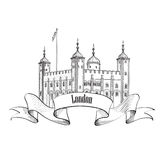 Tower of London famous building, London, England, UK. London sy. London symbol vintage background with copy space. Tower of London famous building, London Royalty Free Stock Photography