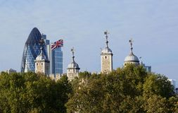 Tower of London, Gherkin, Union Jack Stock Images