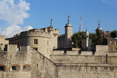 Tower of London. Her Majesty's Royal Palace and Fortress, known as the Tower of London, is a historic castle located on the north bank of the River Thames in Stock Photography
