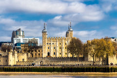 Tower of London located on the north bank of the River Thames in Stock Photography