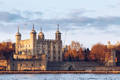 Tower of London located on the north bank of the River Thames in Stock Image