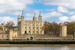 Tower of London located on the north bank of the River Thames in Stock Photo