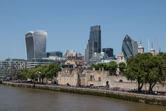 Tower of London and London financial center Royalty Free Stock Images