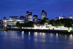 Tower of London and Modern Downtown England Stock Images