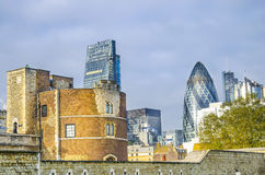 Tower of London and modern skyscrapers Royalty Free Stock Images