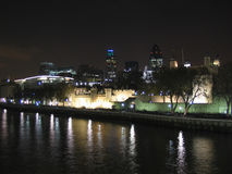 Tower of London and the modern towers. Including the Gherkin and Tower 42 Royalty Free Stock Image
