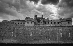 Tower of London. Mysterious Tower of London, Black and White Stock Photo