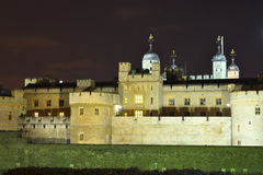 Tower of London at night. Night view on the Tower of London castle, England, United Kingdom Royalty Free Stock Photography
