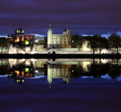 Tower of London  at night , panoramic view from river Stock Photos
