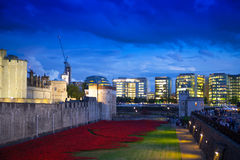 Tower of London and office buildings in twilight. London Stock Photo