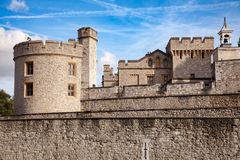 Tower of London outer curtain wall detail. The outer curtain wall of Tower of London, a historic castle and popular tourist attraction on the north bank of the Royalty Free Stock Photos