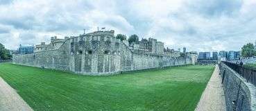 The Tower of London panoramic view of a cloudy day Stock Images