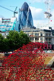 Tower of London Poppies. Blood Swept Lands and Seas of Red is an installation at the Tower of London in the UK. 888,246 ceramic poppies will eventually fully Royalty Free Stock Photos