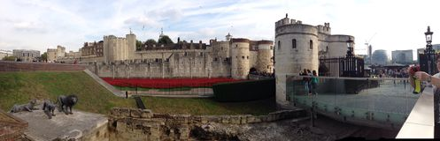 Tower of london. With poppies intallation Royalty Free Stock Photo