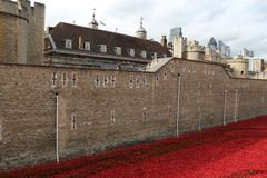 Tower of London and poppy art installation Stock Image