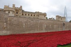 Tower of London and poppy installation. Art installation Blood Swept Lands and Seas of Red at the Tower of London, marking one hundred years since the first full Stock Photography