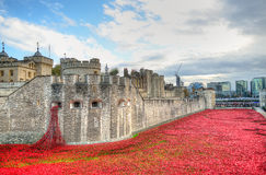Tower of London with sea of Red Poppies to remember the fallen soldiers of WWI - 30th August 2014 - London, UK Stock Photos