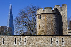 Tower of London and the Shard Royalty Free Stock Photos