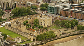 The Tower of London from the Shard. A view of the famour Tower of London taken from the Shard Stock Photography