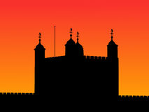 Tower of London at sunset. With beautiful sky illustration Stock Photos