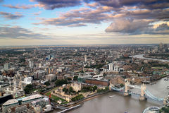 Tower Of London And Tower Bridge. Ariel view of Tower bridge and tower of london Stock Image