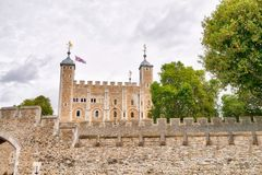 The Tower of London, UK. Ancient landmark on a cloudy day Royalty Free Stock Photos